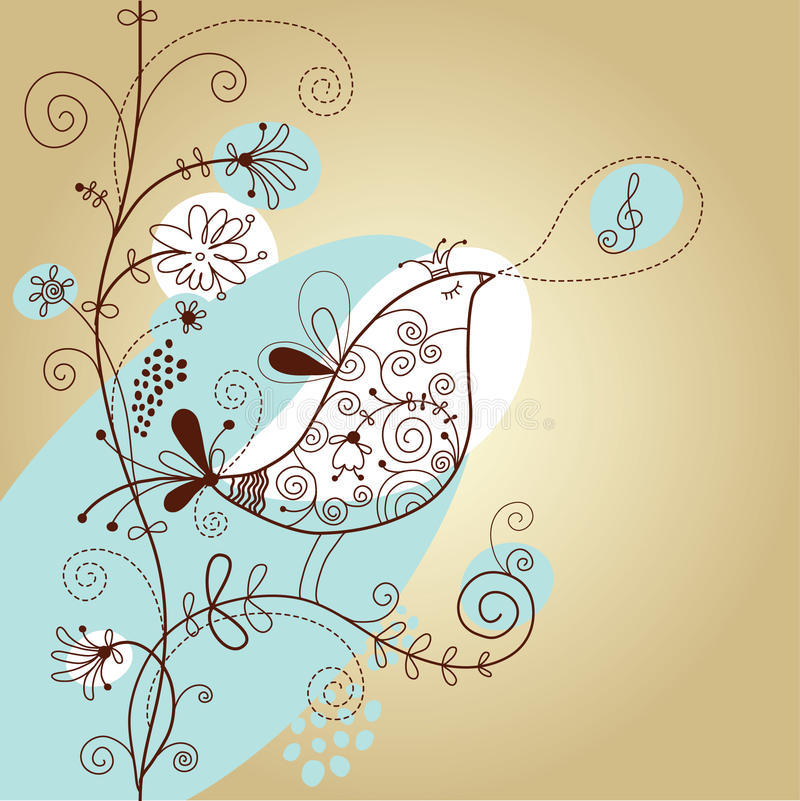 Floral background with bird vector illustration