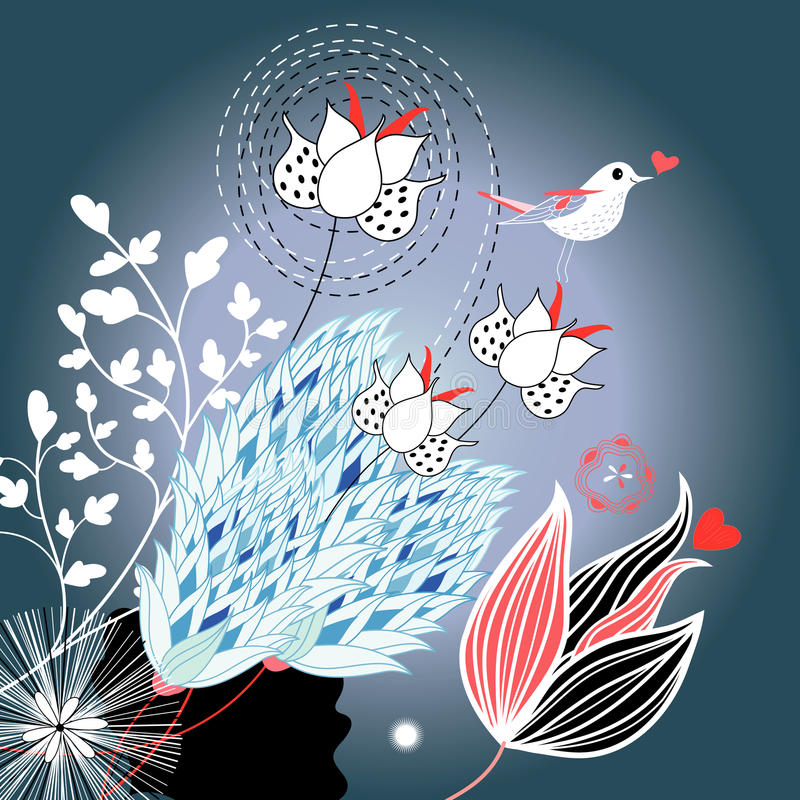 Download Floral Background With A Bird Stock Vector - Image: 27539323