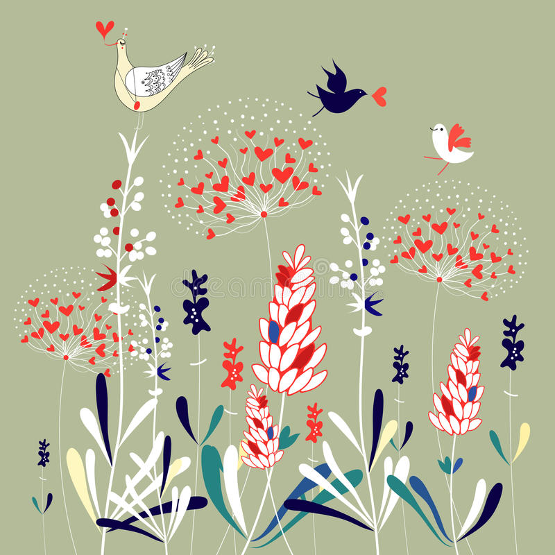 Download Floral Background With Birds Stock Vector - Illustration of cartoons, silhouette: 23875180