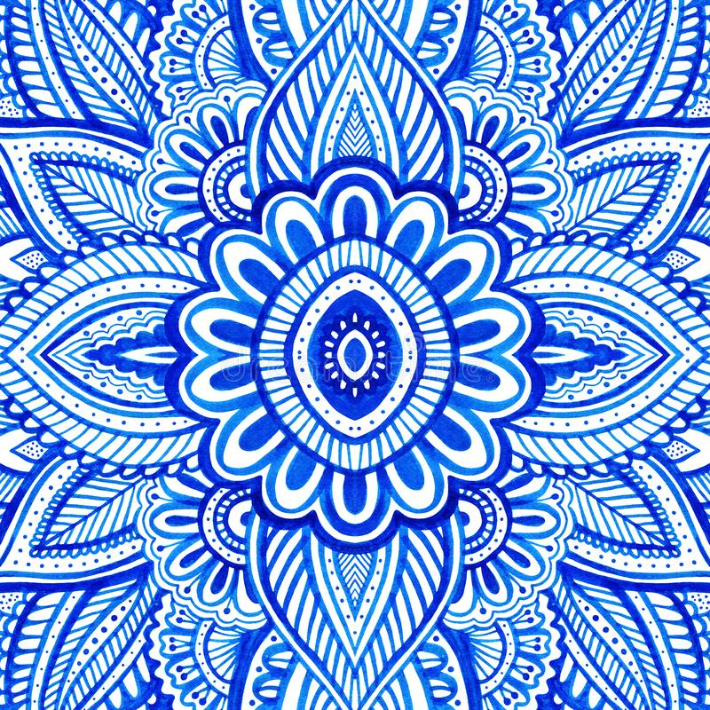 Floral background with blue paisley motif stock illustration