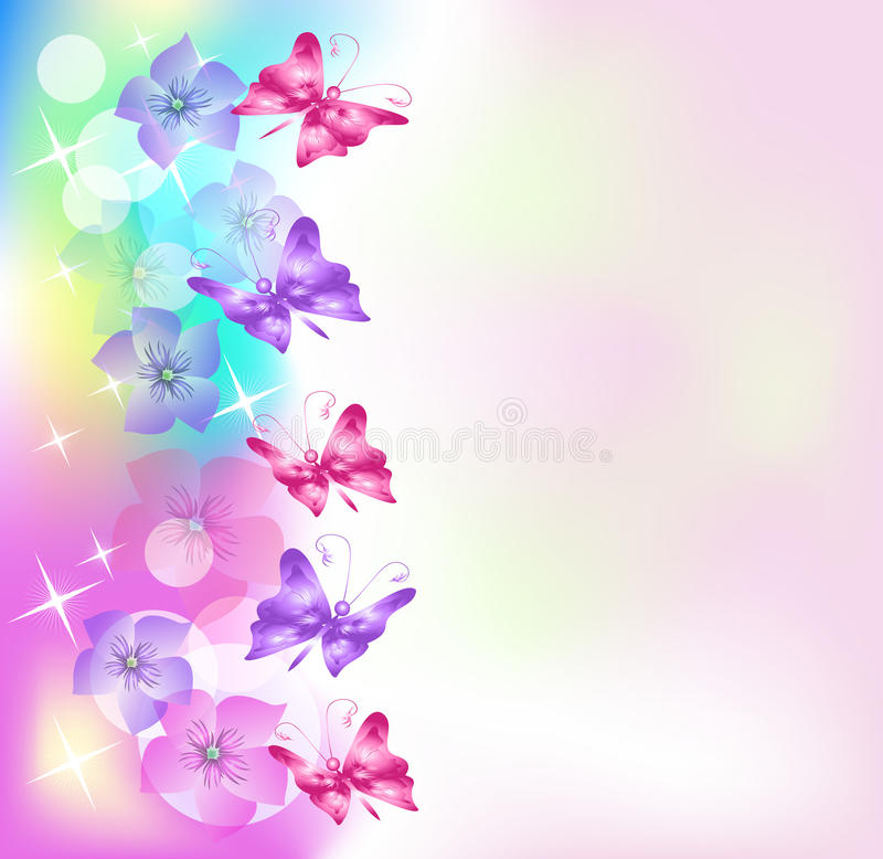 Floral background with butterfly vector illustration