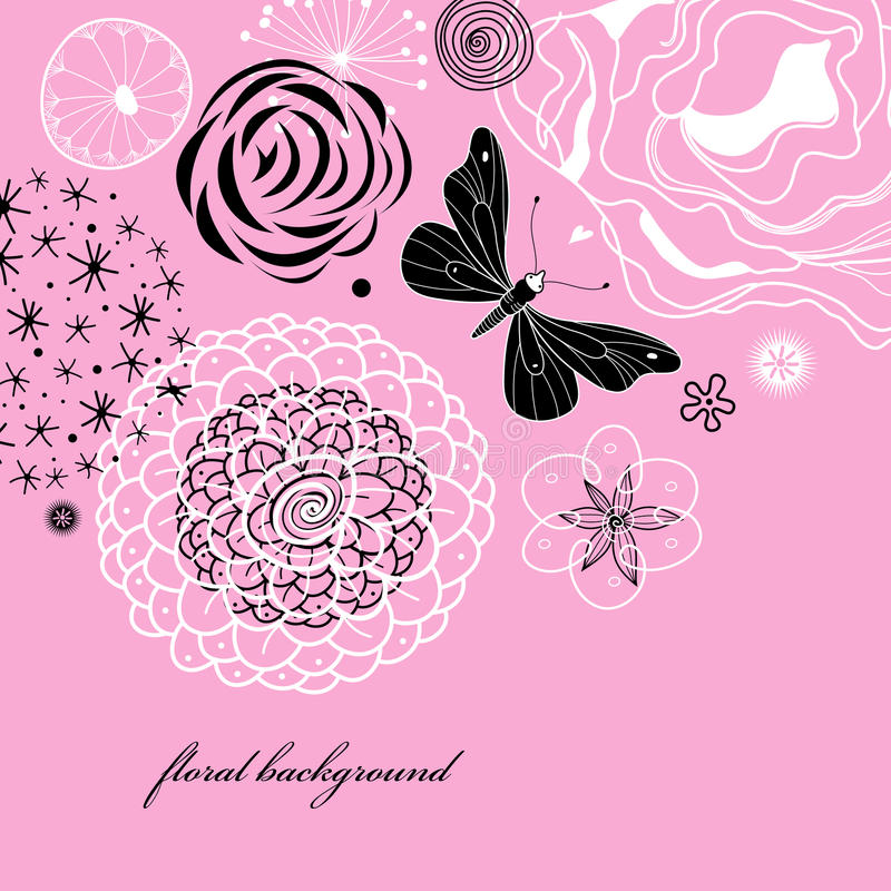 Floral background with butterfly stock illustration