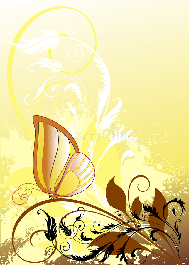 Download Floral Background With Butterfly Stock Photo - Image: 6653250