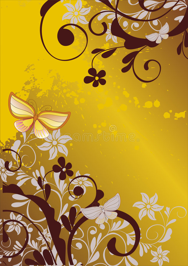 Download Floral Background With Butterfly Stock Vector - Illustration: 6653258