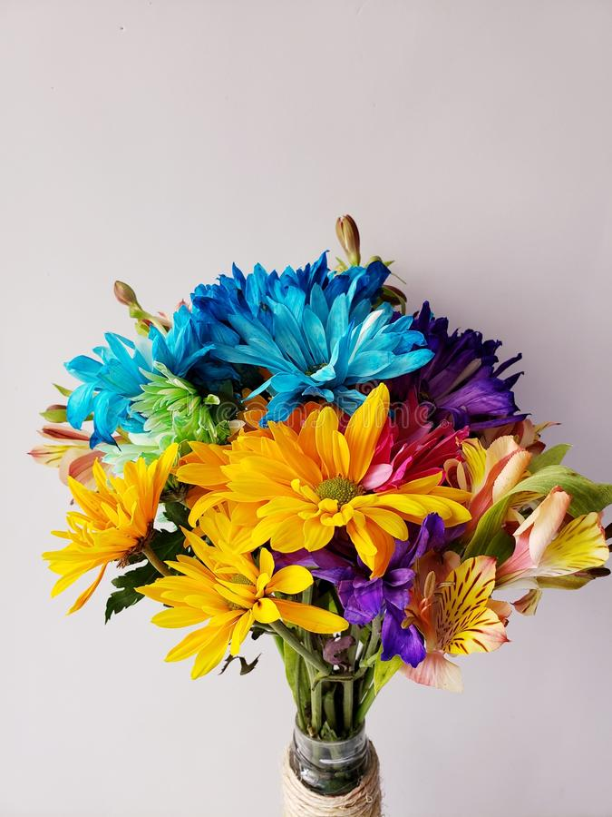 variety of flower of different colors in a floral bouquet and white background stock images