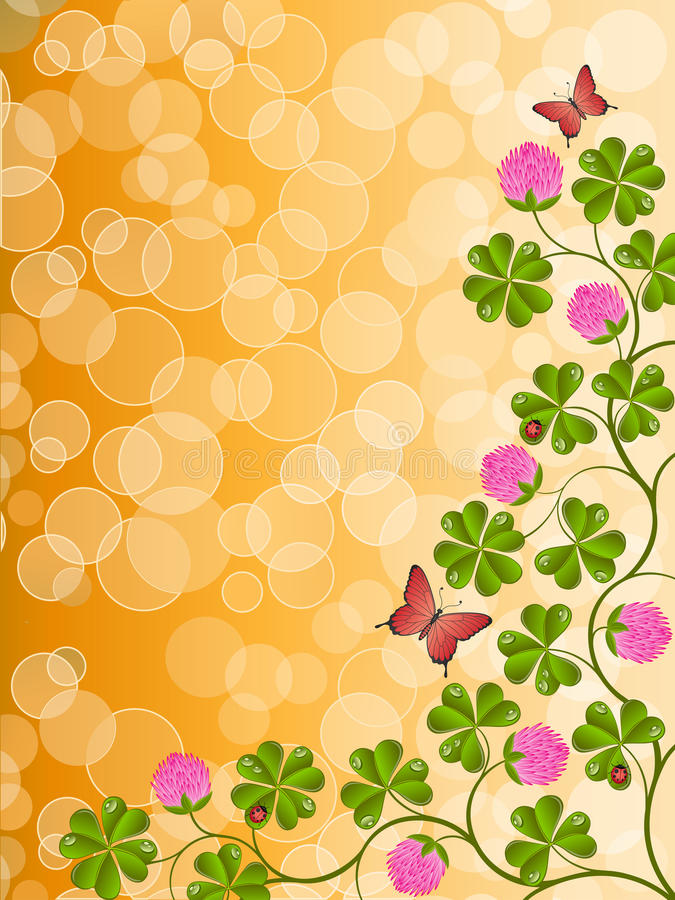 Download Floral Background With A Clover Stock Vector - Illustration: 17839156