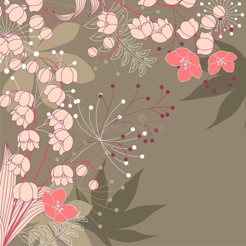 Floral background with contour flowers vector illustration