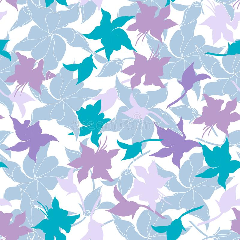Floral background of delicate pink and purple flowers. Light texture for cards, tiles, invitations, greetings and advertising royalty free illustration