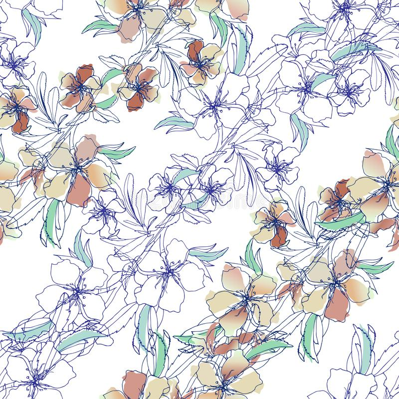 Floral background of delicate spring flowers. Seamless vector texture for fabrics and tiles. royalty free illustration