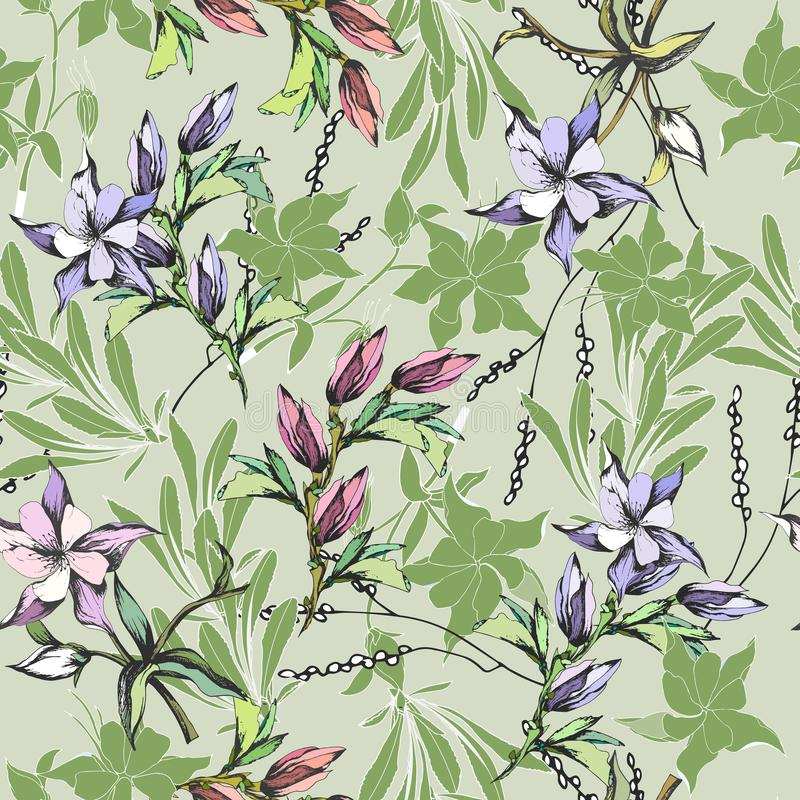 Floral background of delicate watercolor flowers. For the design of greeting cards, tiles, bedding, invitations, greetings and. Advertisements royalty free illustration