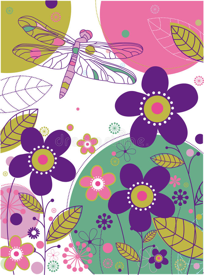 Floral background with a dragonfly vector illustration