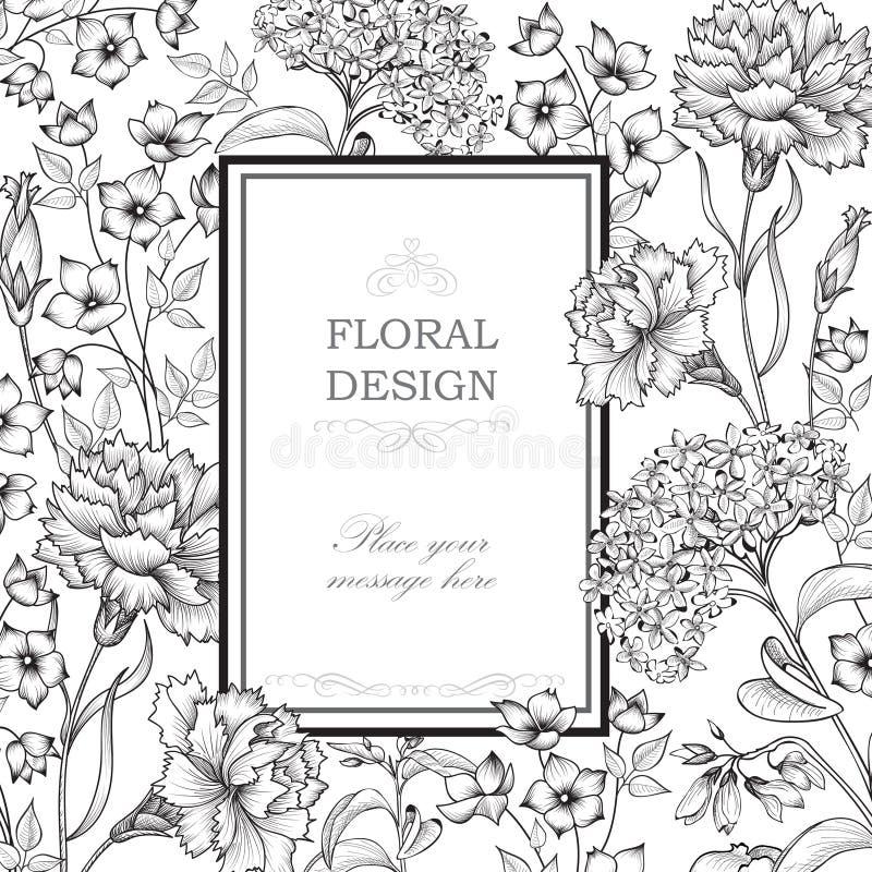 Floral background. Flower bouquet border. Floral vintage cover. stock illustration