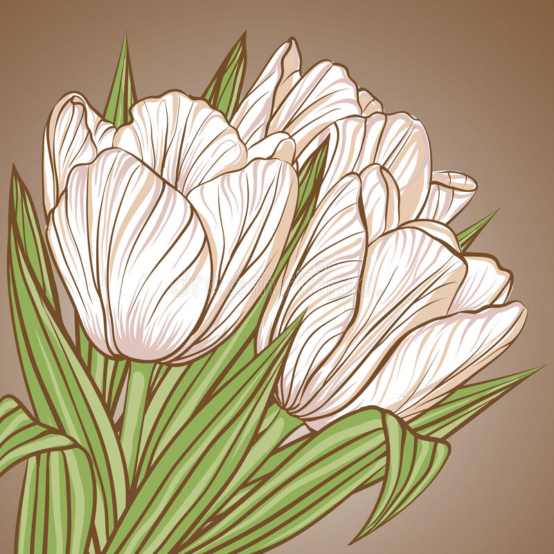 Download Floral Background With Flowers Of Tulips Stock Vector - Image: 33597757