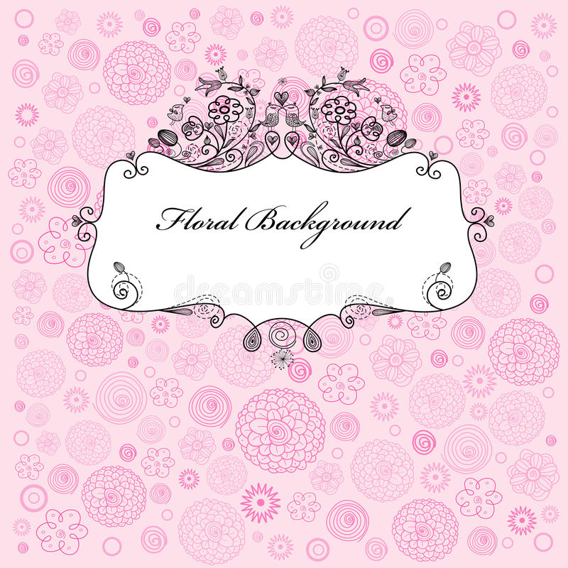 Floral background with frame royalty free illustration