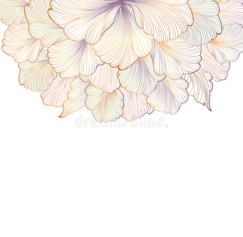 Floral background. Greeting card with flower. Flourish border. stock illustration