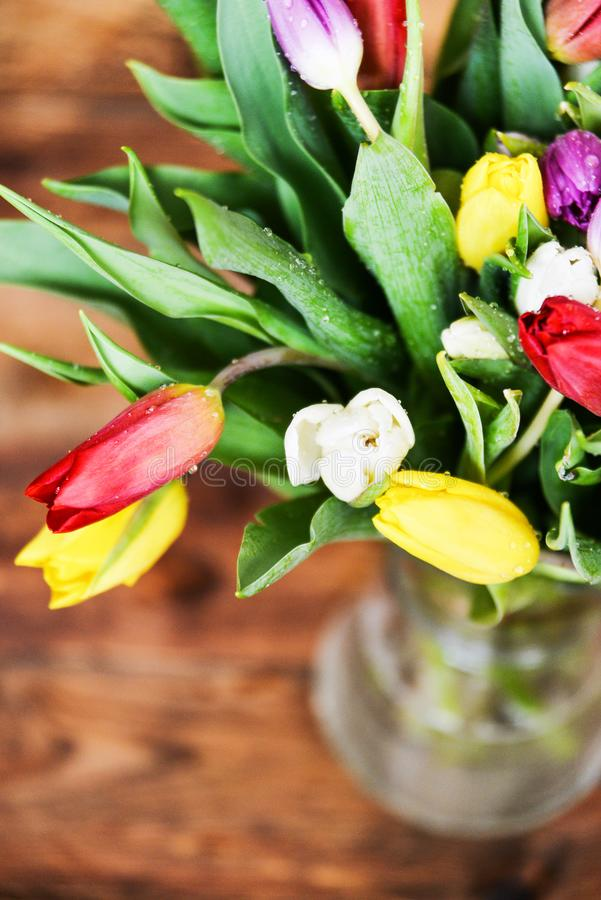 Floral background, greeting card, harvesting, mocap for greetings for mother`s day, international women`s day: bouquet royalty free stock photos