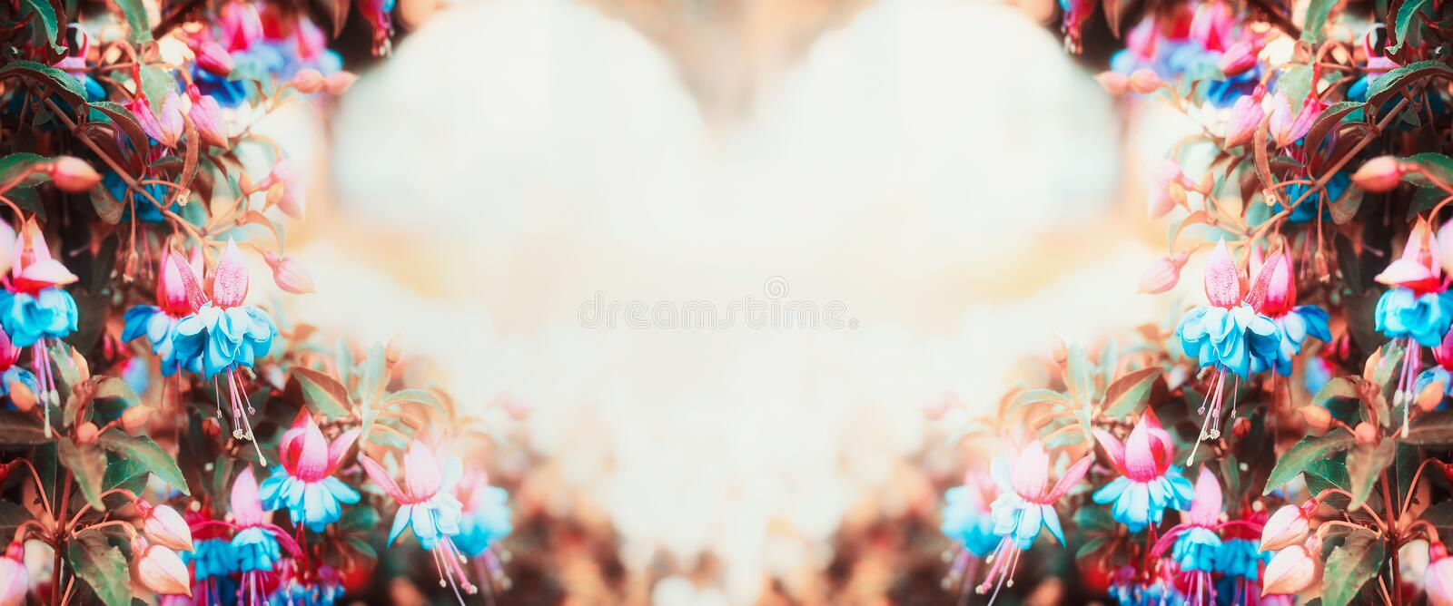 Floral background with heart shaped bokeh and autumn flowers. Banner stock image