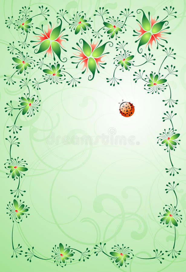Floral background and the ladybird vector illustration