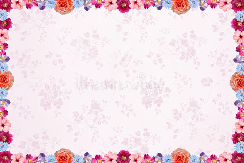 Floral background with light pink nostalgig pattern and flower f royalty free stock images