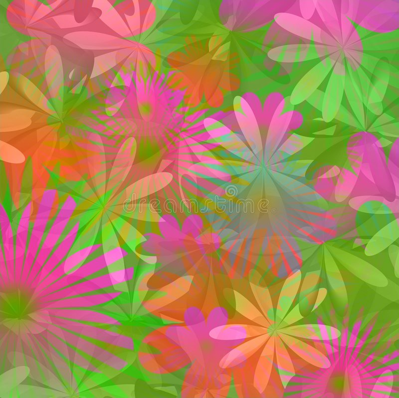 Floral background - lime green and pink stock illustration