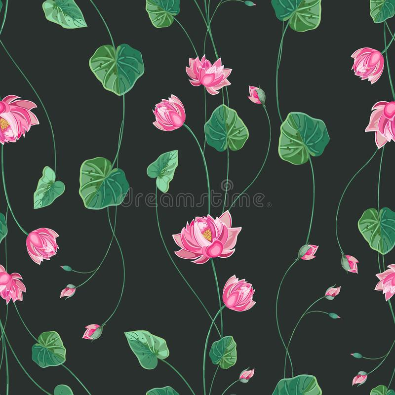 Floral background with lotus flower and green leaves stock illustration