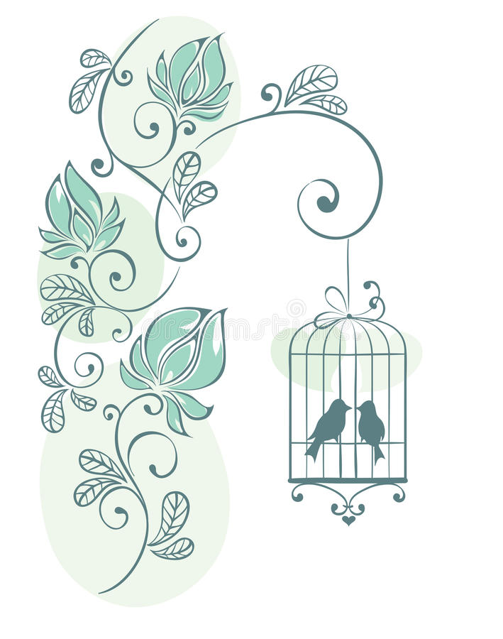 Floral background - love birds stock illustration