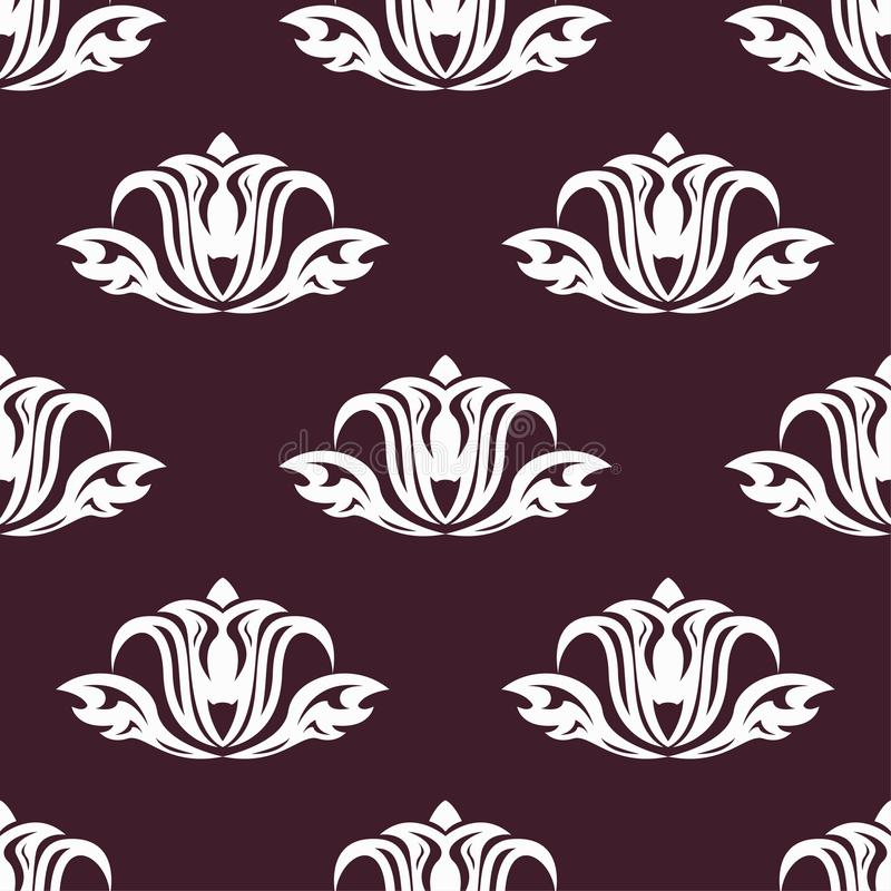 Floral background with maroon seamless pattern vector illustration