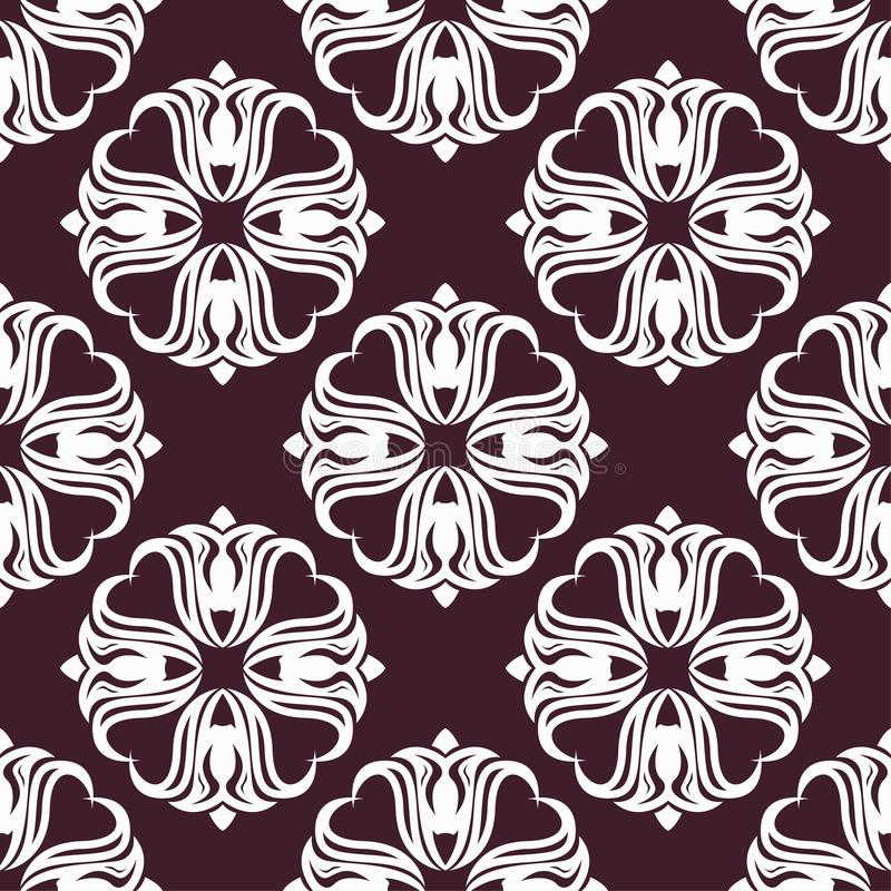 Floral background with maroon seamless pattern stock illustration