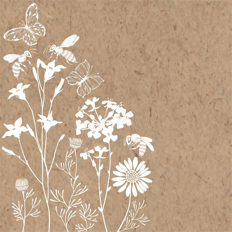Floral background with meadow flowers, butterflies and bees. Vector illustration on a kraft paper with  place for text. Invitation. Summer background. Vector royalty free stock image