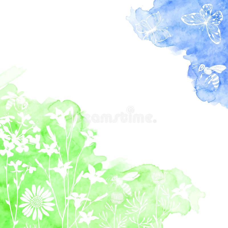 Floral background with meadow flowers, butterflies and bees. Vector illustration on a watercolor background with  place for text. Summer background. Vector royalty free stock images