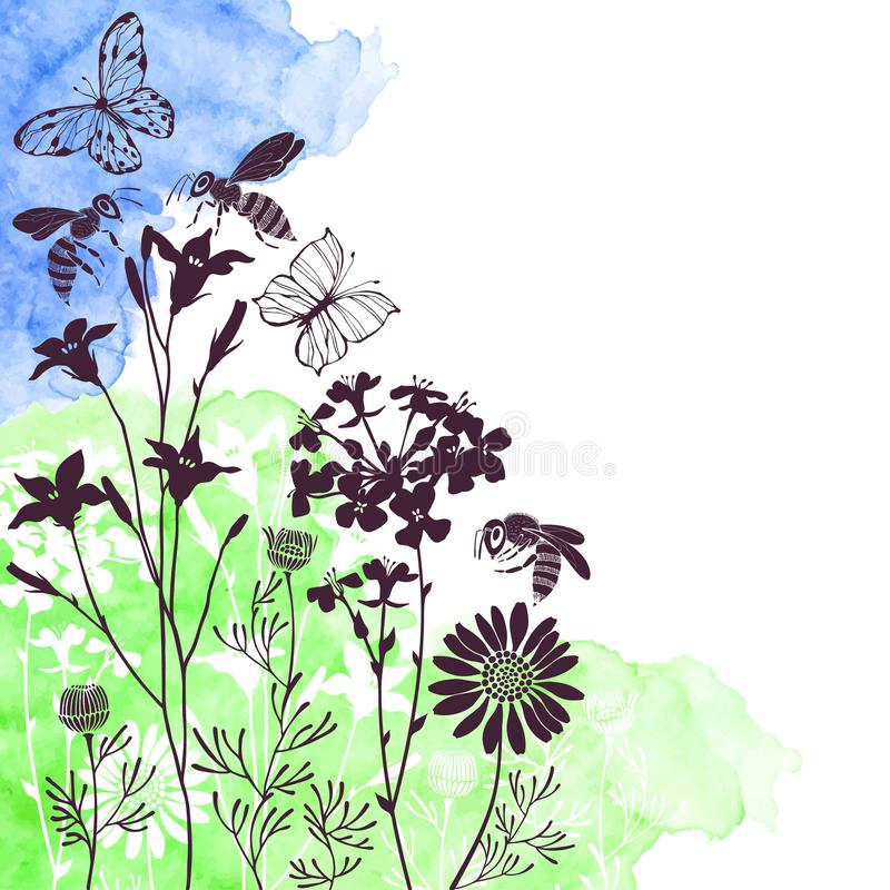 Floral background with meadow flowers, butterflies and bees. Vector illustration on a watercolor background with  place for text. Summer background. Vector royalty free illustration