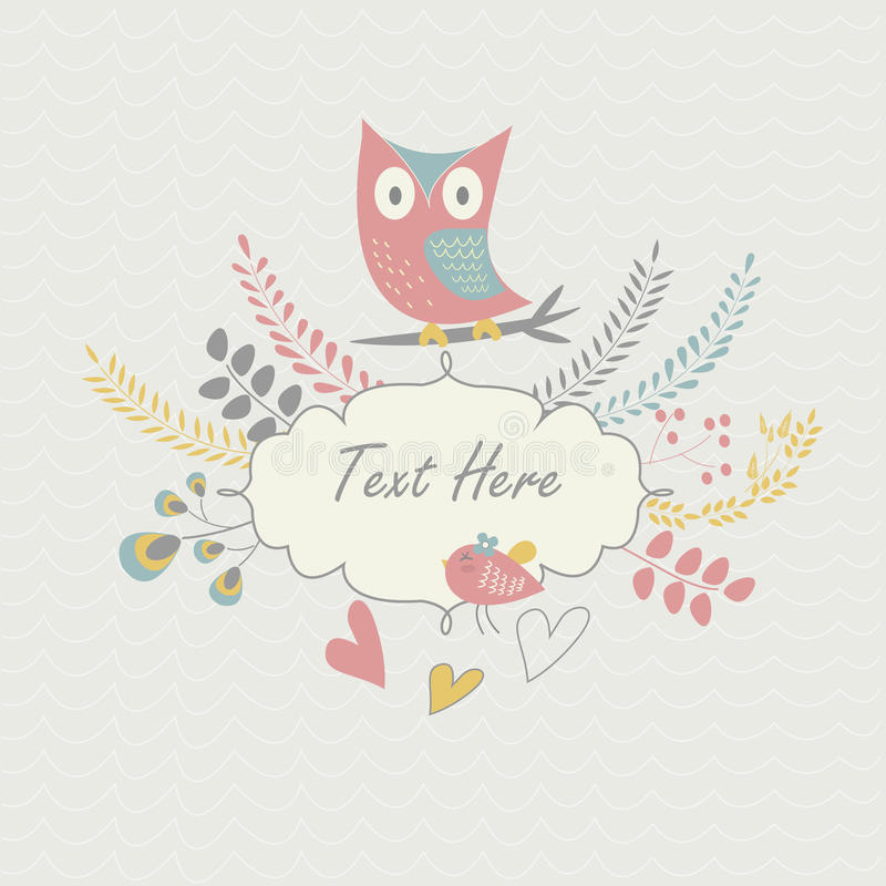 Floral Background With Owl And Bird Stock Image