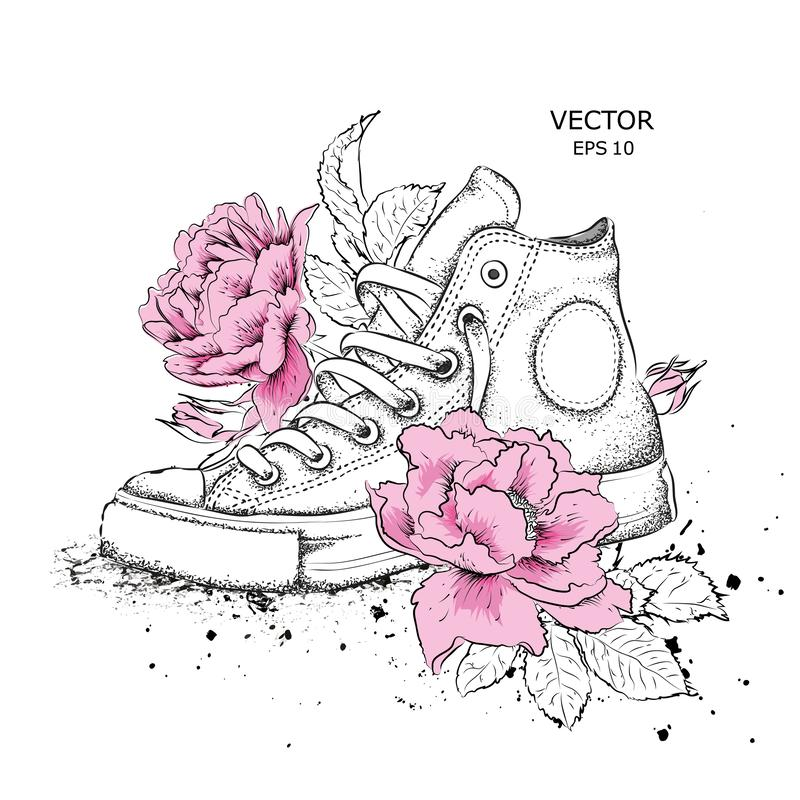 Floral background of peonies and shoes. Drawn sneakers in beautiful colors. Delicate print for women`s clothing, notebooks and mor. E vector illustration