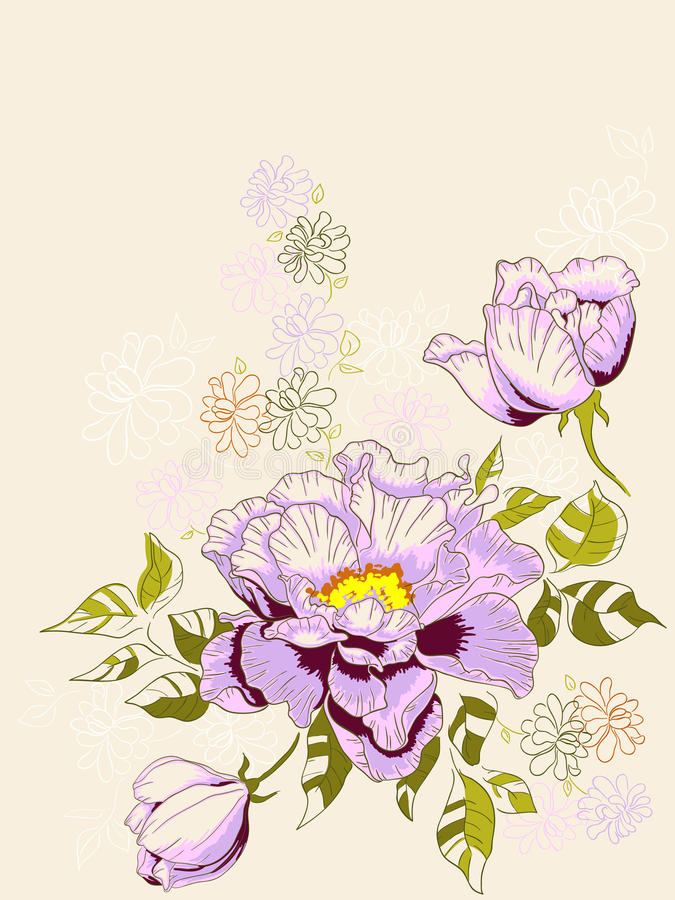Floral background with peony vector illustration