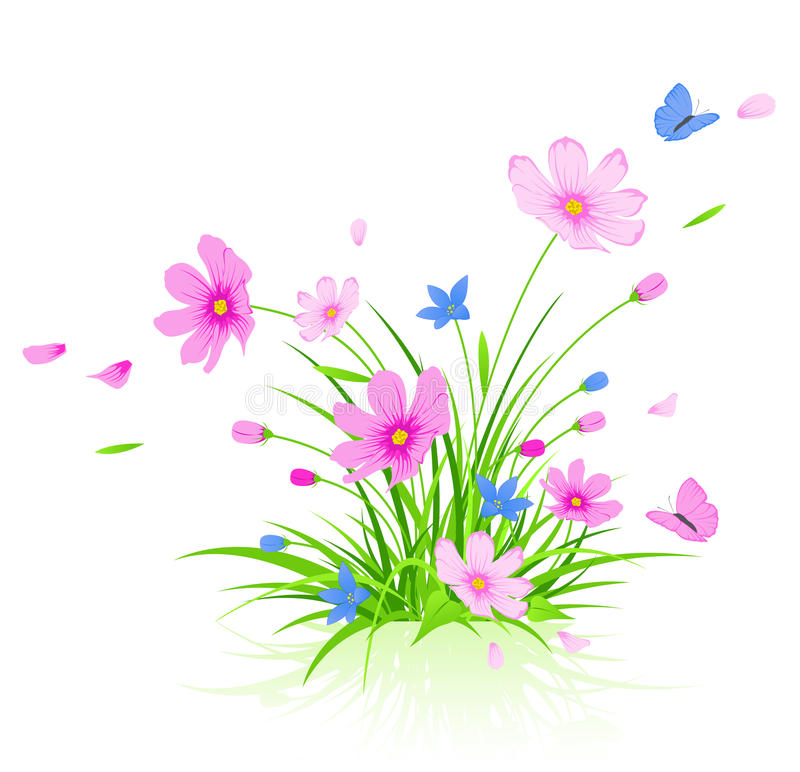 Download Floral Background With Red Cosmos Flowers Stock Photos - Image: 17648603