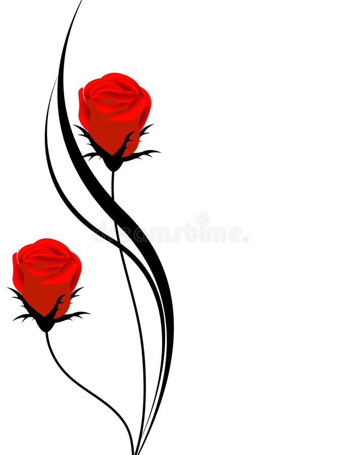 Floral background with red roses, design element. vector illustration