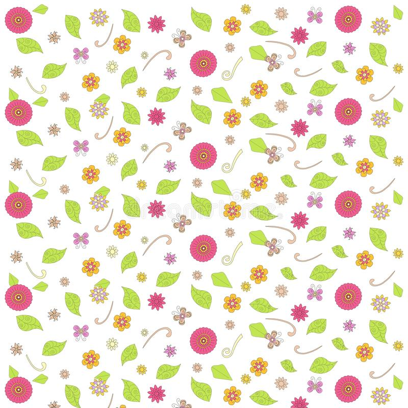 Floral background, red, violet, orange, yellow, pink flowers, butterfly, green leafs, swirls on white royalty free illustration
