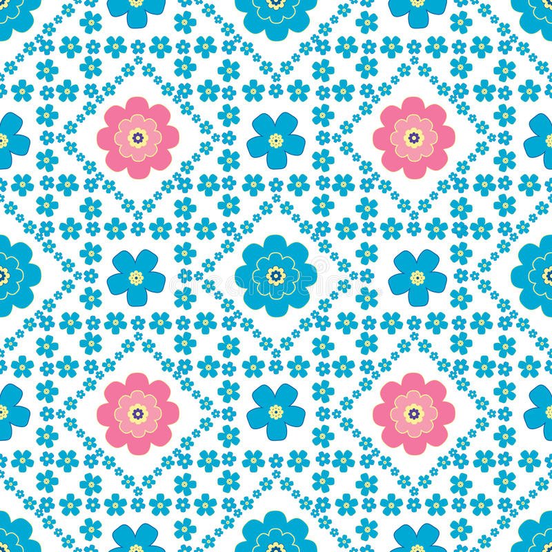 Floral background, seamless vector floral pattern. Cute floral background, vector pattern with forget-me-not flowers. Seamless vector floral pattern for cushion vector illustration