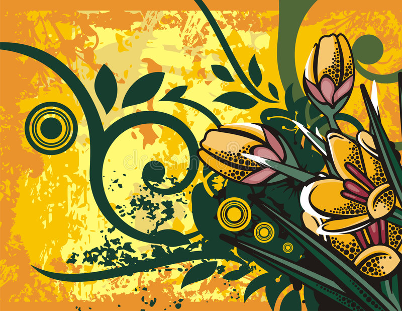 Floral background series. Floral grunge background with yellow flowers, leaves, circles and ornamental details royalty free illustration