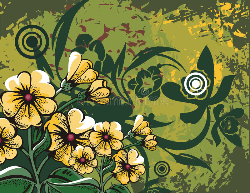 Floral background series. Floral grunge background with yellow flowers, leaves, circles and ornamental details stock illustration