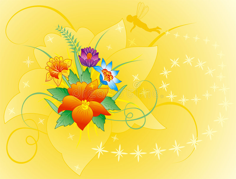 Floral background with silhouette elf, vector stock images