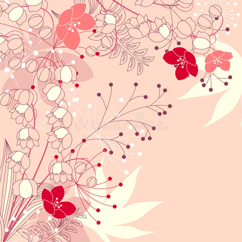 Floral background with stylized flowers royalty free illustration