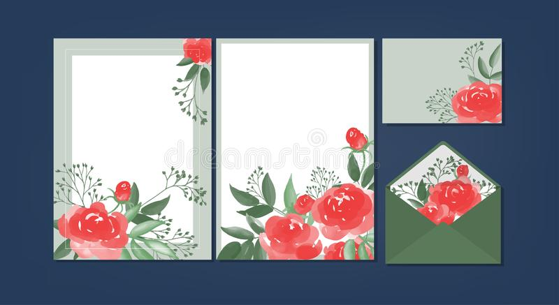 Floral background template collection illustration stock