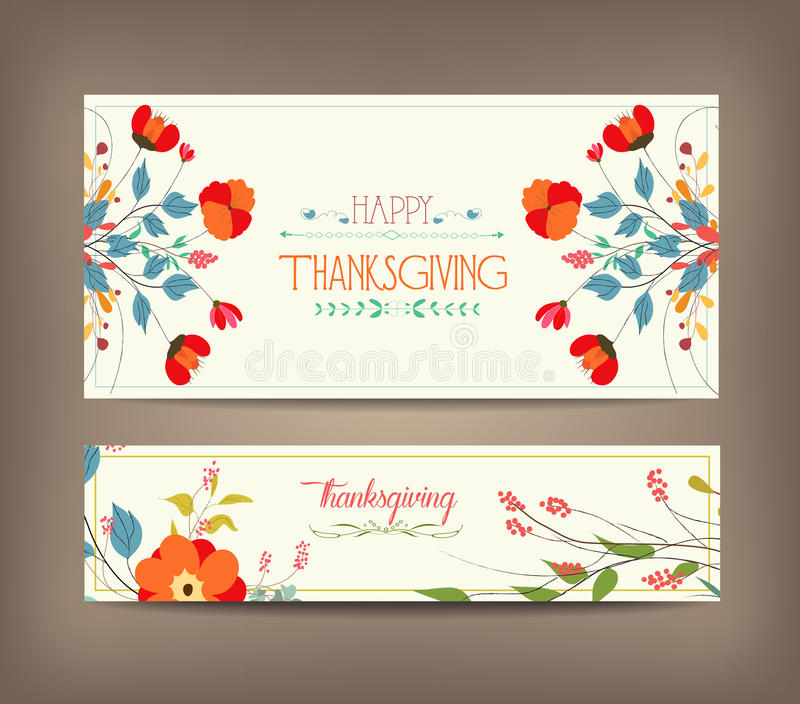Floral background thanksgiving greeting card. Floral thanksgiving greeting card with decorative flowers