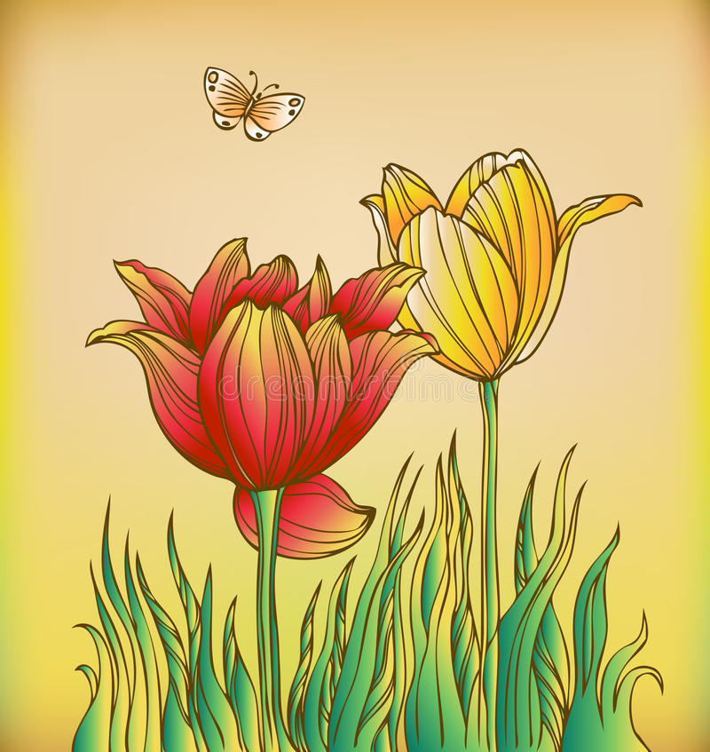Floral background with tulips and butterfly