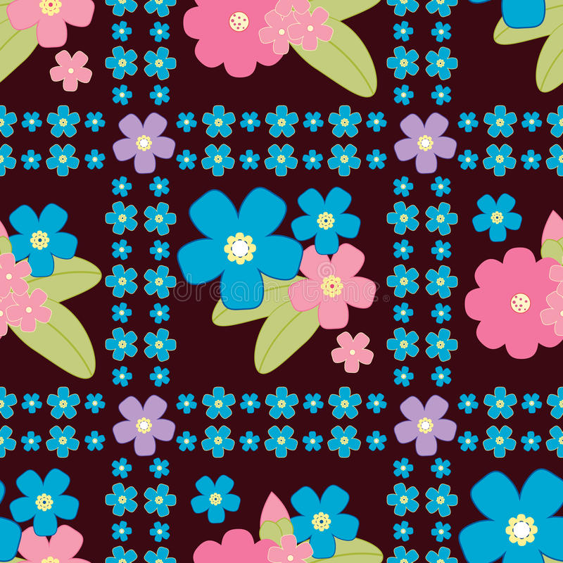 Floral background, vector floral pattern. Cute floral background, vector pattern with forget-me-not flowers. Seamless vector floral pattern for cushion, pillow stock illustration