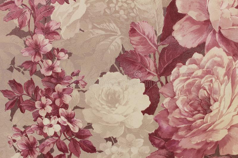 Floral background Wallpaper on the wall royalty free stock image