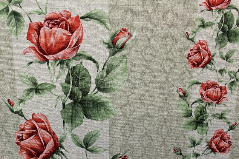 Floral background Wallpaper on the wall.  royalty free stock images