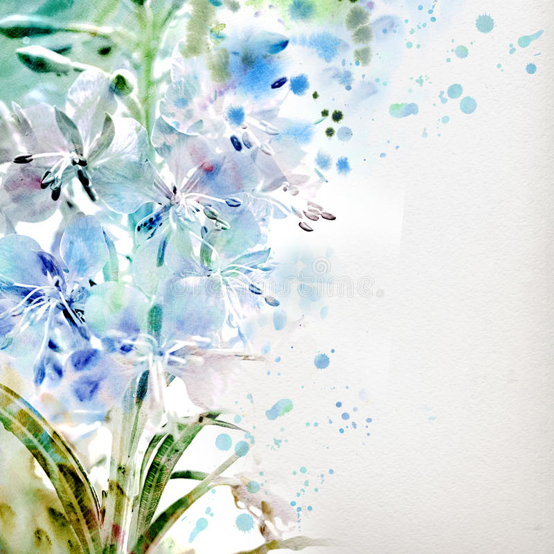 Floral background with watercolor bouquet vector illustration