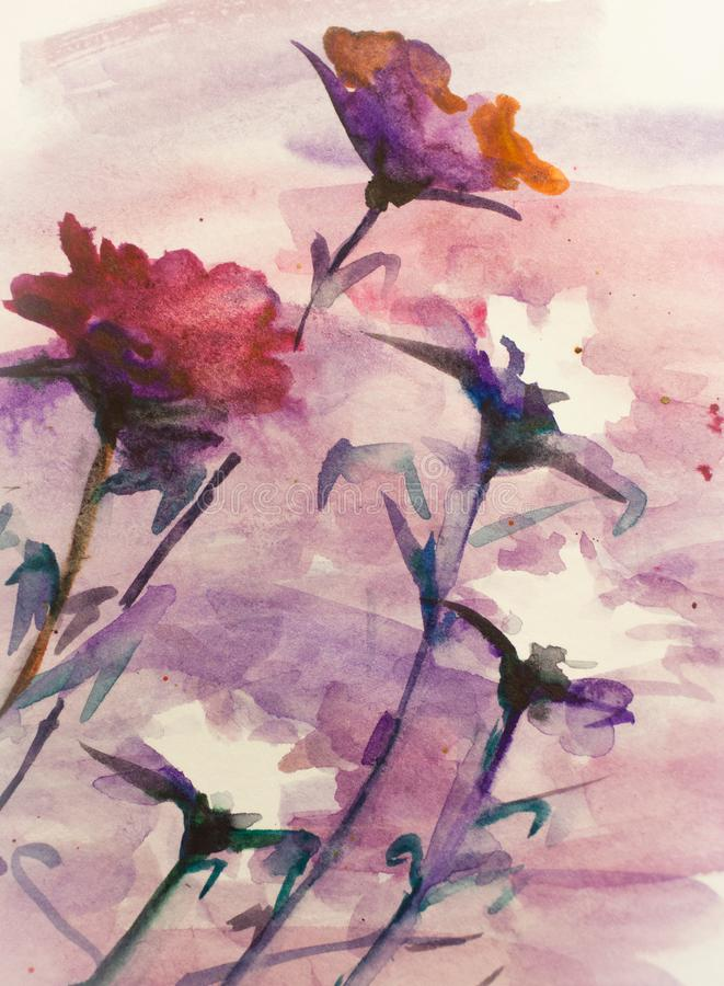 Floral background watercolor drawing for wall decor royalty free illustration